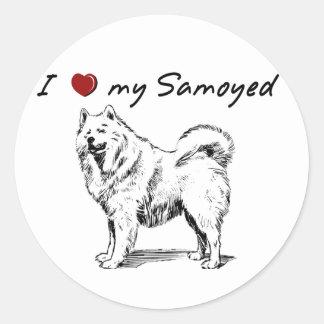 """I """"heart"""" my Samoyed"""" words & graphic Classic Round Sticker"""