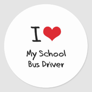 I heart My School Bus Driver Round Stickers
