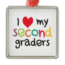 I Heart My Second Graders Teacher Love Metal Ornament