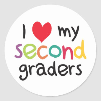 I Heart My Second Graders Teacher Love Classic Round Sticker