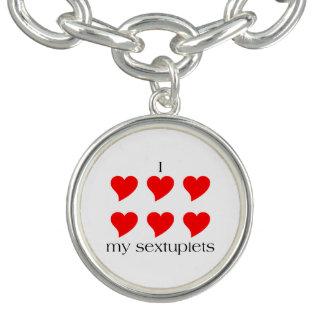 I Heart My Sextuplets Charm Bracelet