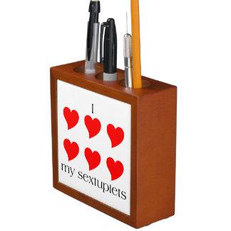 I Heart My Sextuplets Desk Organizer