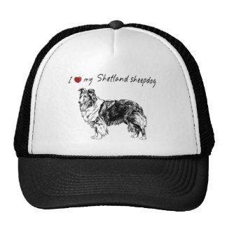 """I ""heart"" my Shetland sheepdog"" with dog graphic Trucker Hat"