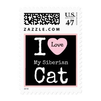 I Heart My Siberian Cat Postage Stamp
