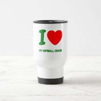 I Heart My SOFTBALL COACH 15 Oz Stainless Steel Travel Mug