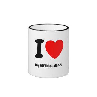 I Heart My SOFTBALL COACH Ringer Coffee Mug