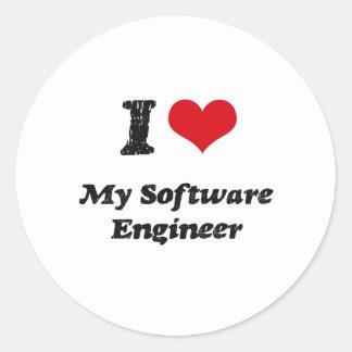 I heart My Software Engineer Round Sticker