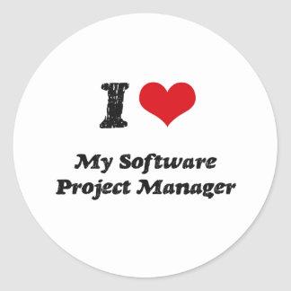I heart My Software Project Manager Round Stickers
