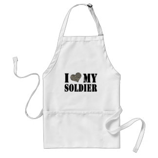 I Heart My Soldier Adult Apron