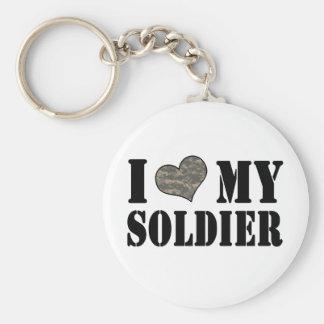 I Heart My Soldier Basic Round Button Keychain