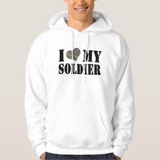I Heart My Soldier Hooded Sweatshirts