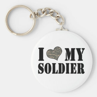 I Heart My Soldier Keychain