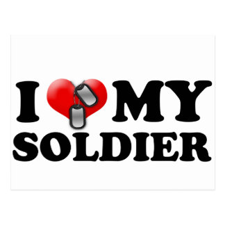 I (Heart) My Soldier Postcard