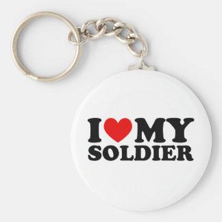 "I ""Heart"" My Solier Basic Round Button Keychain"
