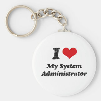 I heart My System Administrator Basic Round Button Keychain