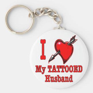I (Heart) My Tattooed Husband Basic Round Button Keychain