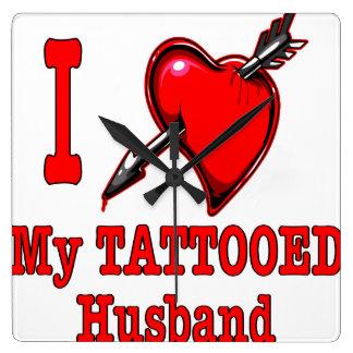 I (Heart) My Tattooed Husband Square Wall Clock