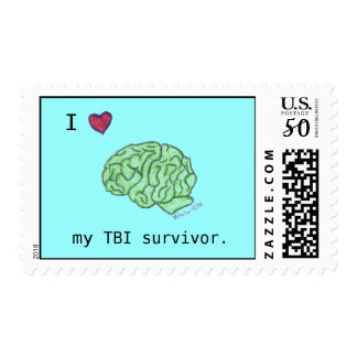 """I [heart] my TBI survivor"" postage"