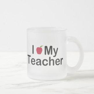 I Heart My Teacher Frosted Glass Coffee Mug