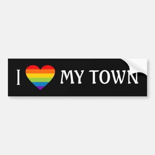 I HEART MY TOWN BUMPER STICKER