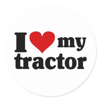 I Heart My Tractor Classic Round Sticker