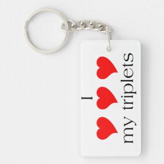 I Heart My Triplets Keychain