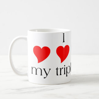 I Heart My Triplets Classic White Coffee Mug