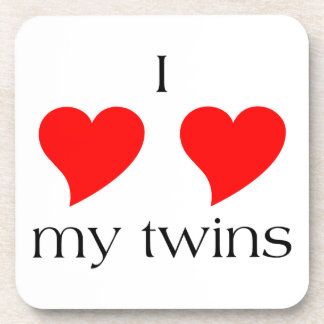 I Heart My Twins Beverage Coaster