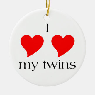 I Heart My Twins Double-Sided Ceramic Round Christmas Ornament