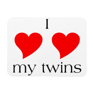 I Heart My Twins Rectangular Photo Magnet
