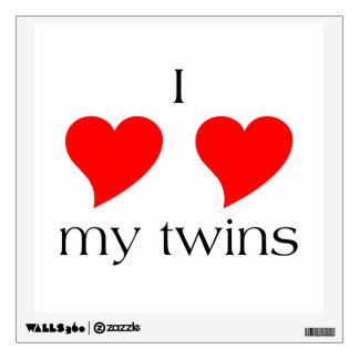 I Heart My Twins Wall Decal