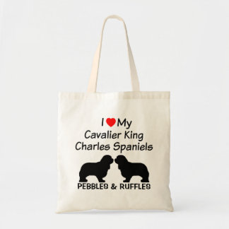 I Heart My Two Cavalier King Charles Spaniel Dogs Tote Bag