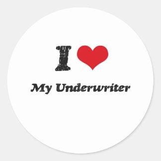 I heart My Underwriter Round Sticker