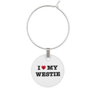 I Heart My Westie Wine Charm