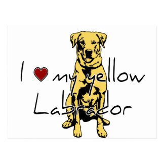"""I """"heart"""" my yellow Labrador with graphic Postcard"""