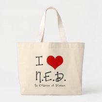 "I ""Heart"" N.E.D. - General Cancer Large Tote Bag"