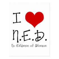 "I ""Heart"" N.E.D. - General Cancer Postcard"