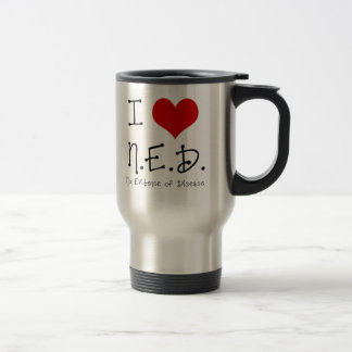 "I ""Heart"" N.E.D. - General Cancer Travel Mug"