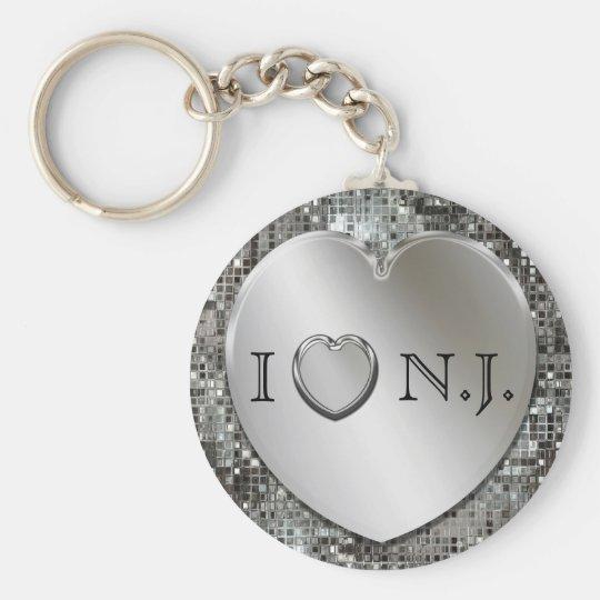 I Heart N.J. Silver Heart Keychain