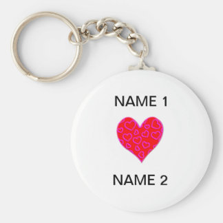 I Heart Name Basic Round Button Keychain