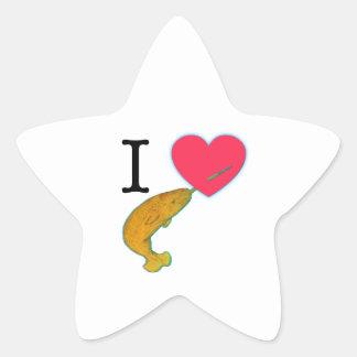 I HEART NARWHALS STAR STICKER