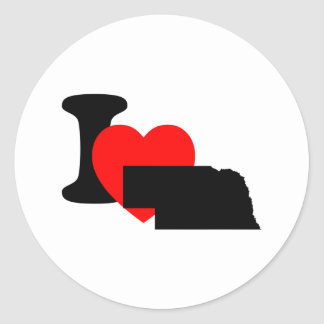 I Heart Nebraska Classic Round Sticker