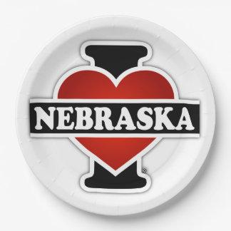 I Heart Nebraska Paper Plate