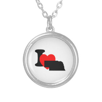 I Heart Nebraska Round Pendant Necklace