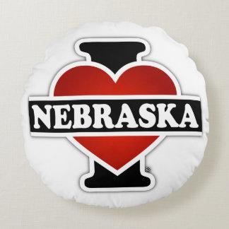 I Heart Nebraska Round Pillow