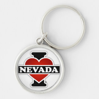 I Heart Nevada Silver-Colored Round Keychain