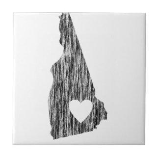 I Heart New Hampshire Grunge Outline State Love Tile