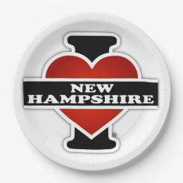 I Heart New Hampshire Paper Plate