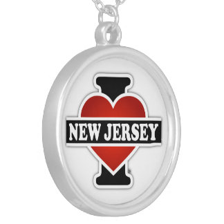 I Heart New Jersey Round Pendant Necklace