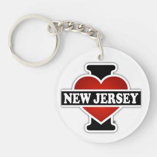 I Heart New Jersey Single-Sided Round Acrylic Keychain